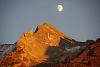 Moon at sunset in the french alpes