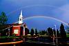 Double rainbow over a church