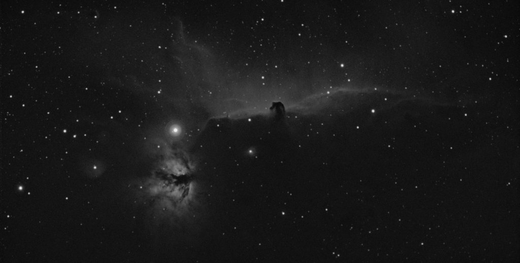 Horse Head and Flame Nebula taken with a hydrogen alpha filter.