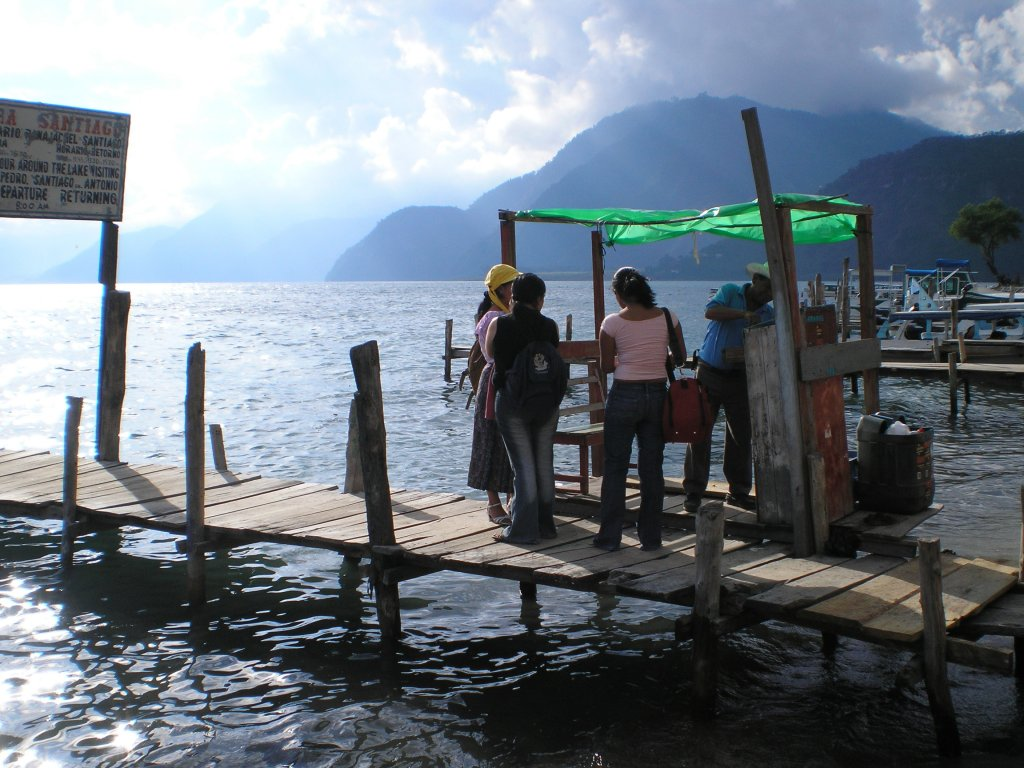 Ticket seller on a Panajachel water taxi dock. Lake Atitlan is very large and there are numerous villages only accessible by water.
