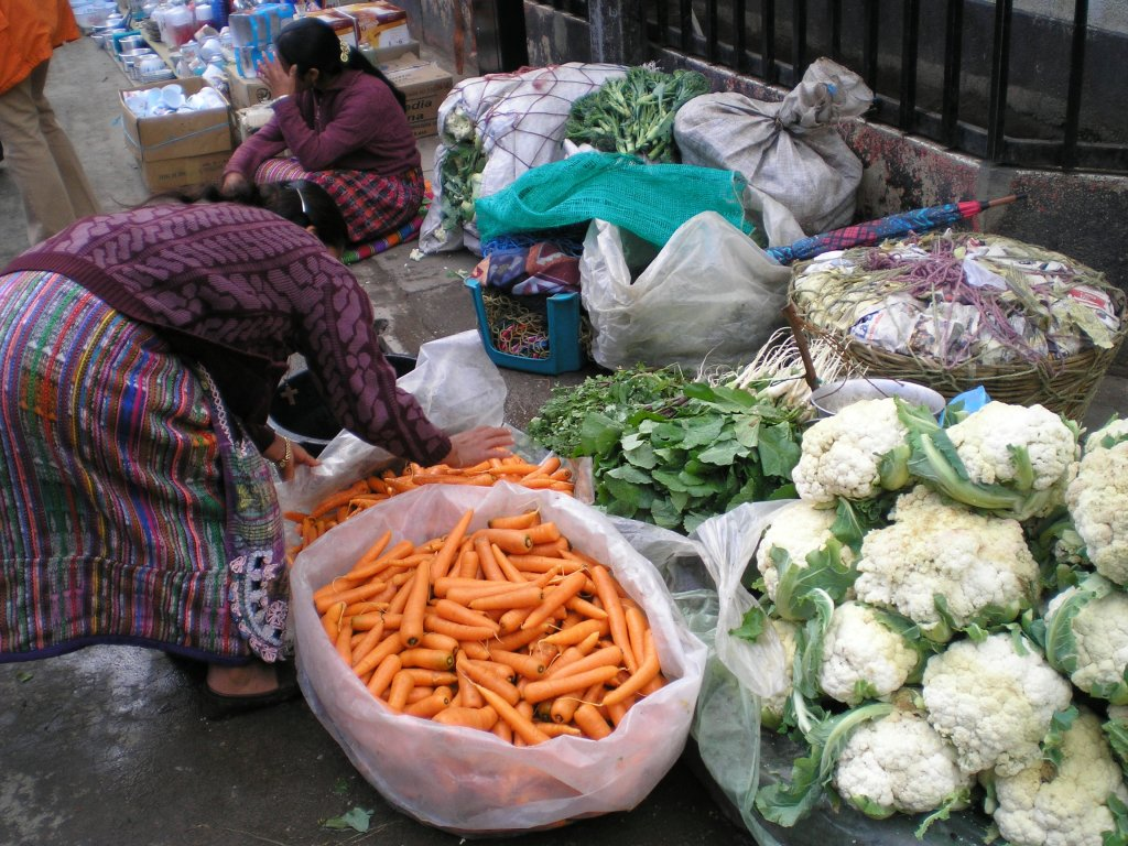 Market Day. Produce is brought into the towns and sold on the streets. And vegetables grow to enormous dimensions. I grew up in corn-growing Ontario, and in Guatemala the corn stalks grow 9-10 feet tall.