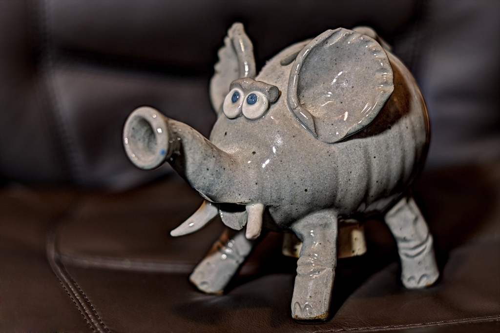 Heirloom.  This little elephant piggy bank was purchased by my grandmother Mytle, for my mother, sometime in the late 60's or early 70's.  My mother gave it to me a few years ago.