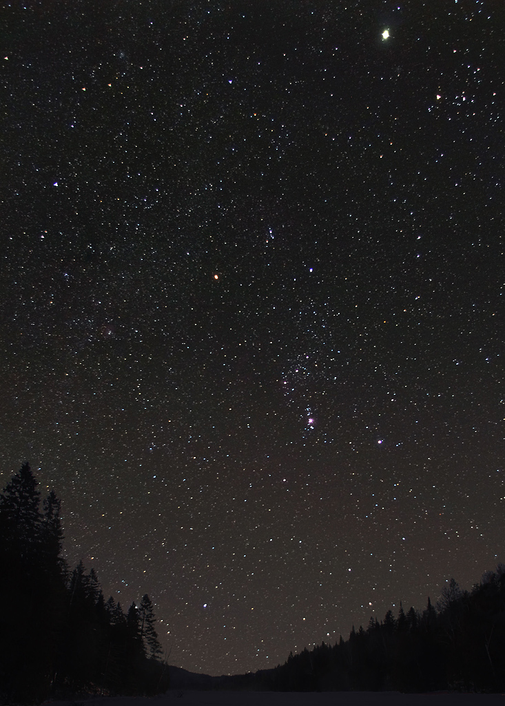 Orion,  stack of 6 20 sec exposures, skyglow removed with iris software and foreground added with pse 11.