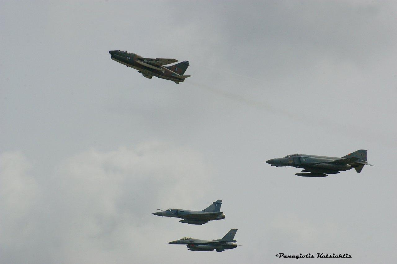 Hellenic Air Force formation. F-16-Mirage2000-A7 Corsair-F4E Phantom II AUP