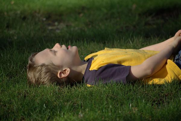 Relaxing on the grass