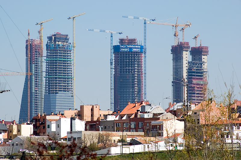 This is the current skyline of the future Business District in Madrid ...