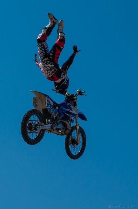 motocross stunt rider in flight