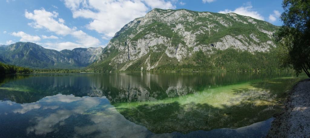 Stitched panorama of Lake Bohinj