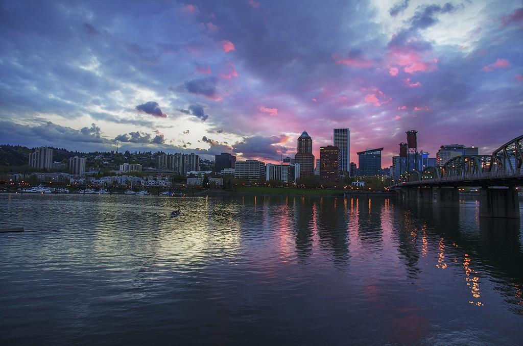 Portland City Oregon Sunset